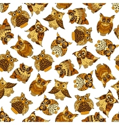 Brown forest owls seamless pattern vector image vector image