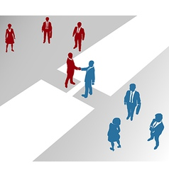 Business people teams join on merger bridge vector image vector image