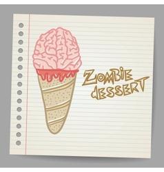 Doodle ice cream cone dessert vector image vector image