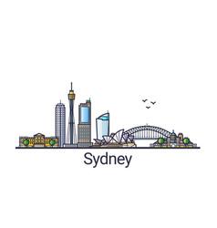 flat line sydney banner vector image vector image