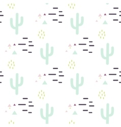 Mint and white cactus desert seamless pattern vector image vector image