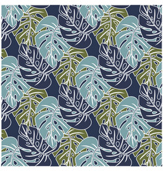 pattern with three shades of leaves vector image vector image