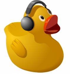 rubber ducky with headphones vector image vector image