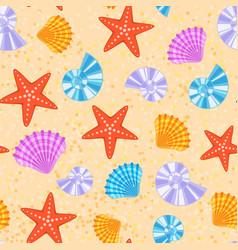sea shells and stars marine cartoon clam-shell vector image vector image