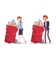 young businessman and businesswoman pushing vector image