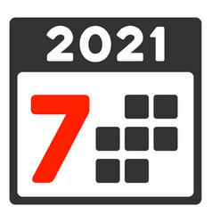 2021 year 7 days flat icon vector