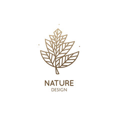 abstract tropic plant minimal logo outline emblem vector image