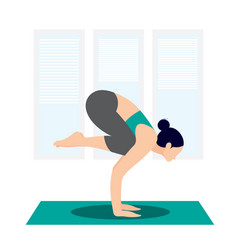 Active woman practicing yoga at home vector