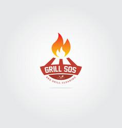 barbecue logo grill bbq restaurant icon vector image