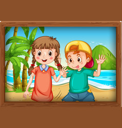 best friends picture on wooden frame vector image