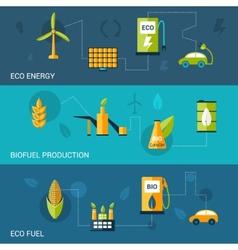 Bio Fuel Flat Banners vector