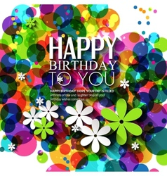 Birthday card with flowers in bright colors on vector