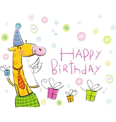 Birthday giraffe vector image