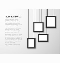 Blank hanging frames pictures photo frames on vector