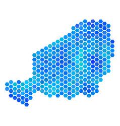 Blue hexagon niger map vector