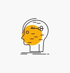 Brain hack hacking key mind line icon vector