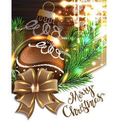 Brown bow and Christmas bauble vector image