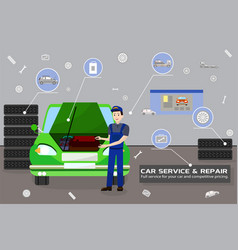 car service and repair flat vector image