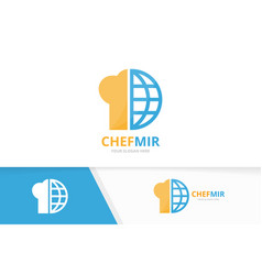 chef hat and planet logo combination vector image