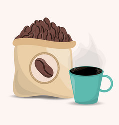 Coffee beans sac and cup image vector
