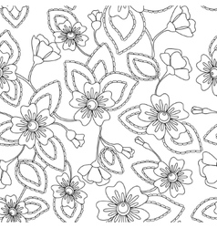 Coloring antistress flowers pattern vector image