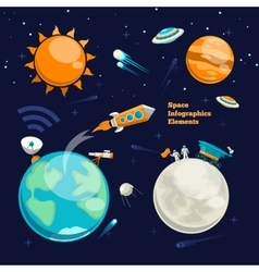 Conquest of space Space infographics elements vector image