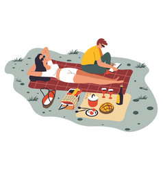 couple on picnic sunbathing woman and reading man vector image