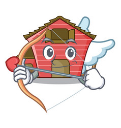 Cupid character red barn building with haystack vector