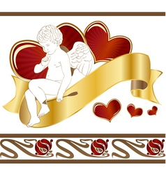 Cupid with heart vector