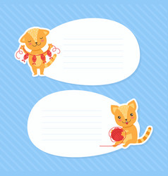 cute funny cats with blank banners set cartoon vector image