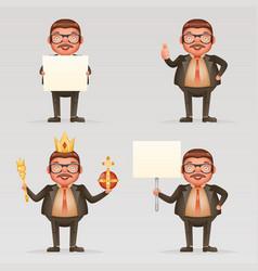 Cute successful businessman cheerful king crown vector