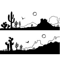 Desert landscape with cactuses arizona desert vector