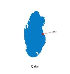 Detailed map of Qatar and capital city Doha vector