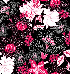 Detailed tropical floral seamless pattern vector