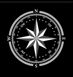 Dial compas and rose of wind on black background vector