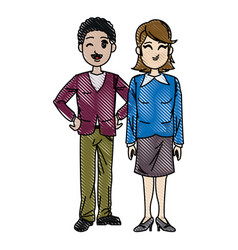 Drawing man and woman business people work vector