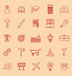 Engineering line color icons on orange background vector