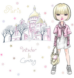 fashion girl in winter clothes in paris vector image