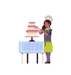 female professional chef pastry cook decorating vector image