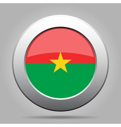 Flag of Burkina Faso Shiny metal round button vector image