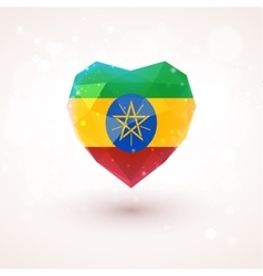 Flag of Ethiopia in shape diamond glass heart vector