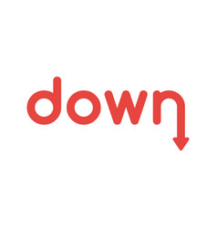 flat design concept of down word with arrow vector image