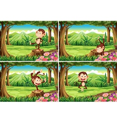 Four scenes of monkeys in the park vector image