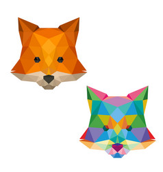 fox face with polygonal geometric style vector image