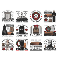 funeral ceremony icons with coffins on cemetery vector image