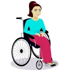 Girl with disabilities in a wheelchair vector