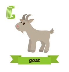 Goat G letter Cute children animal alphabet in vector