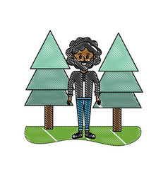 Grated man curly hair and pine trees vector