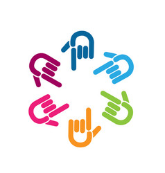 group of colorful pointing hands icon vector image