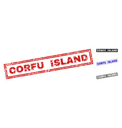 grunge corfu island scratched rectangle watermarks vector image